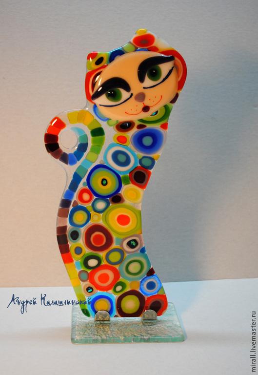 """Статуэтки ручной работы. Ярмарка Мастеров - ручная работа. Купить статуэтка """"Гламурная кошка"""", стекло,фьюзинг. Handmade. Гламурная, котики"""