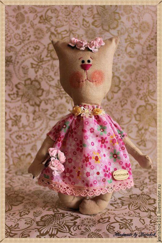 Игрушки животные, ручной работы. Ярмарка Мастеров - ручная работа. Купить Котейка-барышня в розовом. Handmade. Текстильная кукла, кот