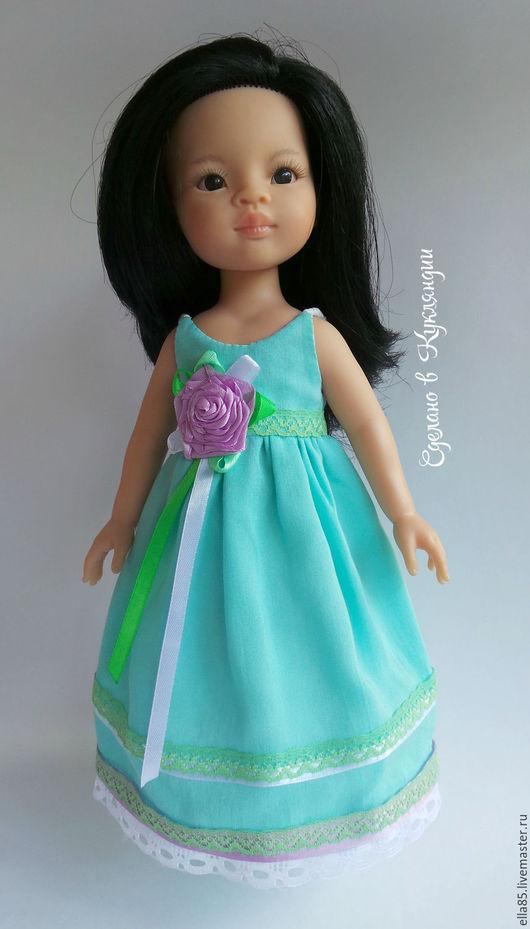 Одежда для кукол ручной работы. Ярмарка Мастеров - ручная работа. Купить Платье  для куклы 32 см. Handmade. Бирюзовый