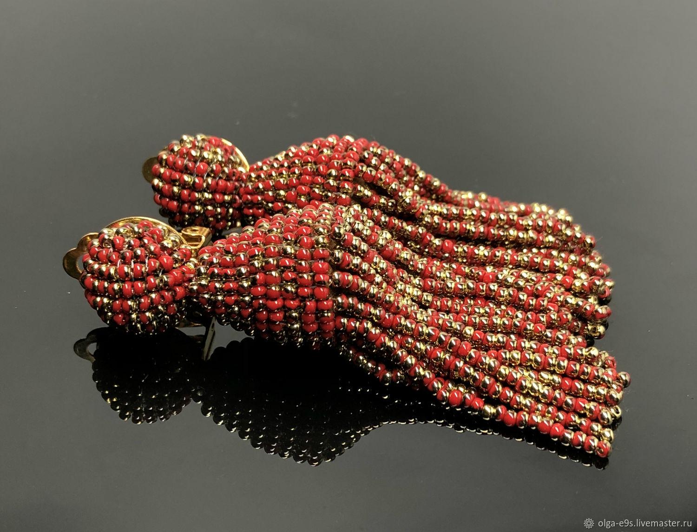 Earrings-brushes-a shortened model in the style of Oscar de La Renta, Tassel earrings, Moscow,  Фото №1