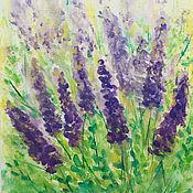 Картины и панно handmade. Livemaster - original item Watercolor painting lavender on a sunny meadow