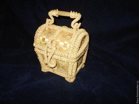Персональные подарки ручной работы. Ярмарка Мастеров - ручная работа. Купить Шкатулка. Handmade. Соломка, шкатулка, золото, проволка, ткань
