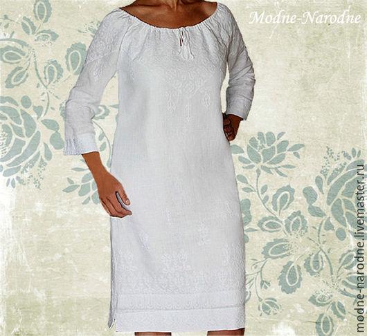 Белое платье из льна НАРЯДНОЕ-НЕНАГЛЯДНОЕ, ручная вышивка Дизайнерское платье Летнее белое платье Богемный шик Свадебное платье  Модная одежда с ручной вышивкой.  Творческое ателье Modne-Narodne.