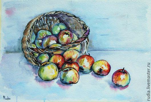 Картина Яблоки в корзине из серии На кухне с изображениями продуктов гармонично впишется в любой интерьер и наполнит пространство цветом и светом, напомнит вам о летних солнечных днях и осеннем урожае