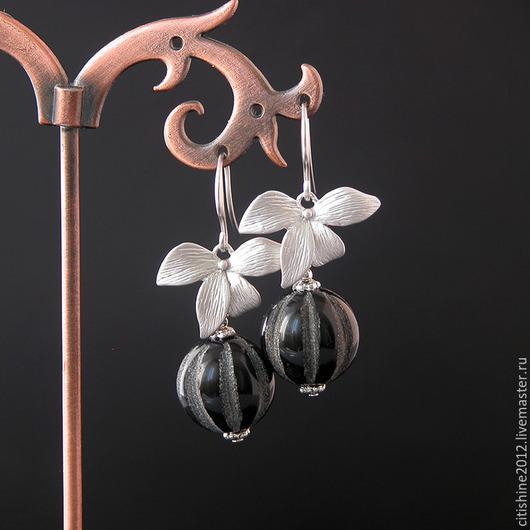 """Серьги ручной работы. Ярмарка Мастеров - ручная работа. Купить Серьги """" Орхидеи. Резной агат"""". Handmade. Длинные серьги"""