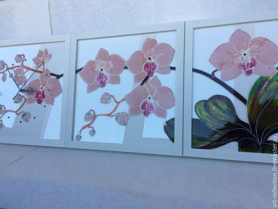 """Часы для дома ручной работы. Ярмарка Мастеров - ручная работа. Купить Часы триптих """"Ветка орхидеи"""". Handmade. Витраж, орхидеи"""