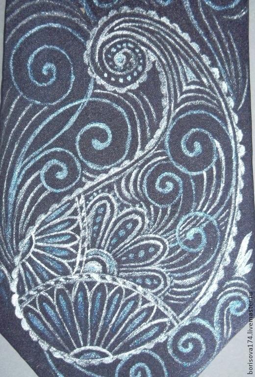 """Галстуки, бабочки ручной работы. Ярмарка Мастеров - ручная работа. Купить Галстук """"Пейсли"""". Handmade. Тёмно-синий, восточные мотивы"""