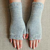 Аксессуары handmade. Livemaster - original item Knitted mitts with a Lacy edge. Handmade.