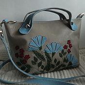 Сумки и аксессуары handmade. Livemaster - original item Leather bag. Crossbody bag. Field bouquet gray blue. Handmade.