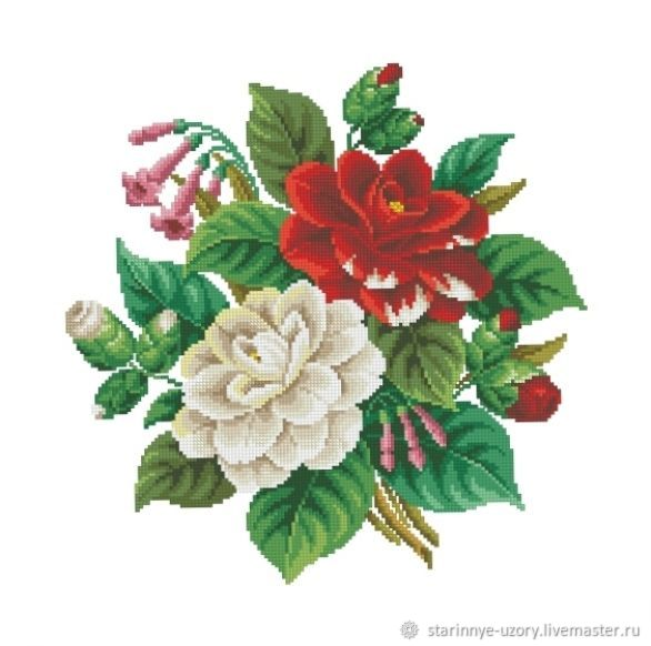 The scheme for embroidery: Bouquet of camellias, Patterns for embroidery, Moscow,  Фото №1