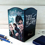 Канцелярские товары handmade. Livemaster - original item Wooden pencil case with a box decoupage Harry Potter Hogwarts blue. Handmade.