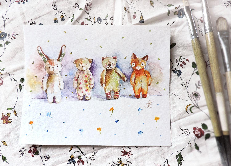 Плюшевые малютки - картина акварелью, Картины, Москва, Фото №1