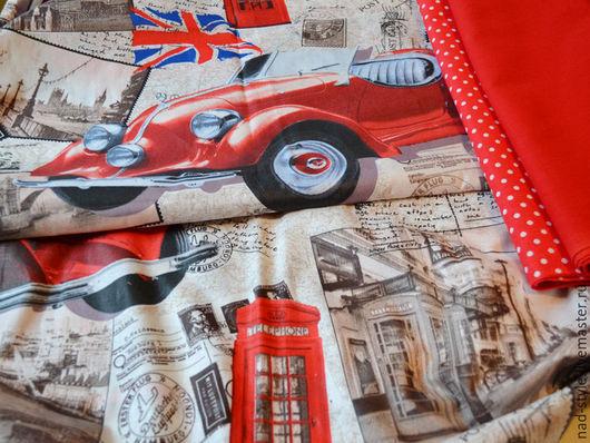 """Шитье ручной работы. Ярмарка Мастеров - ручная работа. Купить Ткань хлопок  """"Ретро авто. Лондон"""" 150см. Handmade. Бежевый"""
