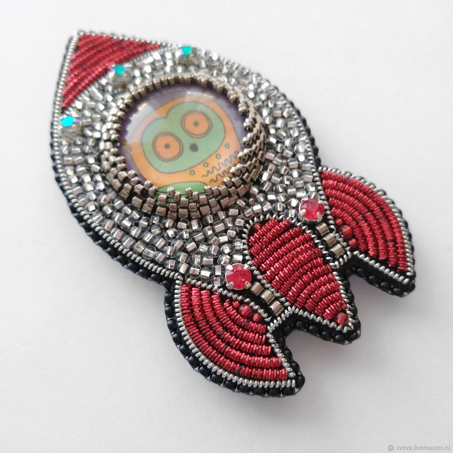 Brooch the Owl rocket space owl fashion brooch, Brooches, Smolensk,  Фото №1