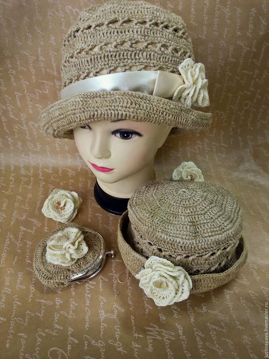 Шапки и шарфы ручной работы. Ярмарка Мастеров - ручная работа. Купить Шляпка из льна. Handmade. Комбинированный, шляпка для девочки, лён