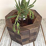 Кашпо деревянное октаэдр