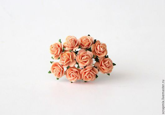 Открытки и скрапбукинг ручной работы. Ярмарка Мастеров - ручная работа. Купить Цветы розы 10 мм цвет персиковый. Handmade.