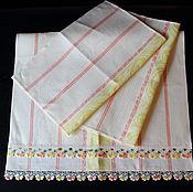 Для дома и интерьера ручной работы. Ярмарка Мастеров - ручная работа Комплект льняных полотенец для кухни. Handmade.