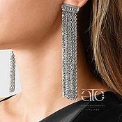 Украшения handmade. Livemaster - original item Long earrings with pendants and CZ. 925 sterling silver. Handmade.
