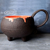 Посуда handmade. Livemaster - original item Witch`s Cauldron Mug with orange potion. Handmade.