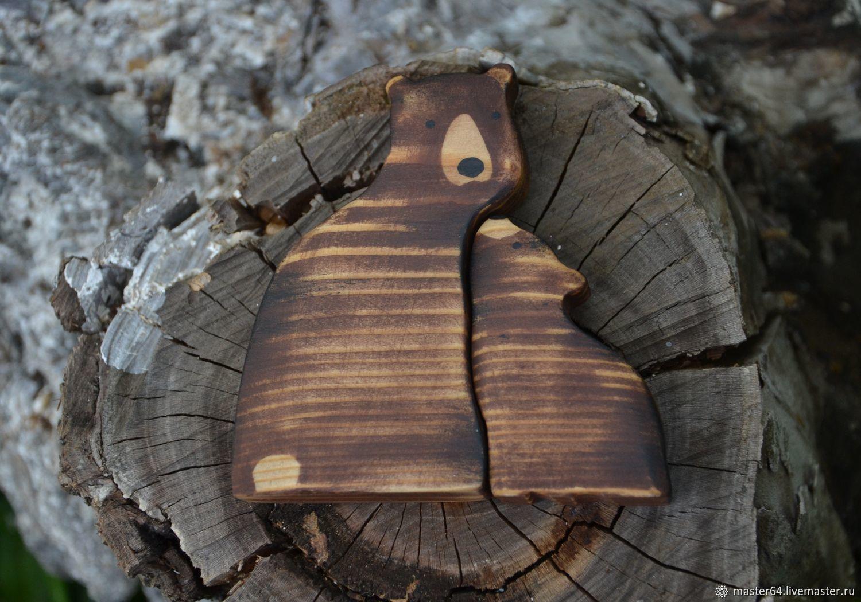 Бурые медведи (медведица с медвежонком). Фигурки из дерева, Вальдорфские куклы и звери, Саратов,  Фото №1