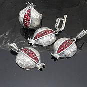 Украшения handmade. Livemaster - original item Garnet jewelry set with zircons made of 925 GA0048 silver. Handmade.