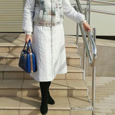 Одежда ручной работы. Ярмарка Мастеров - ручная работа Юбка из стеганной серебристой ткани из комплекта ,,Песцы,,. Handmade.