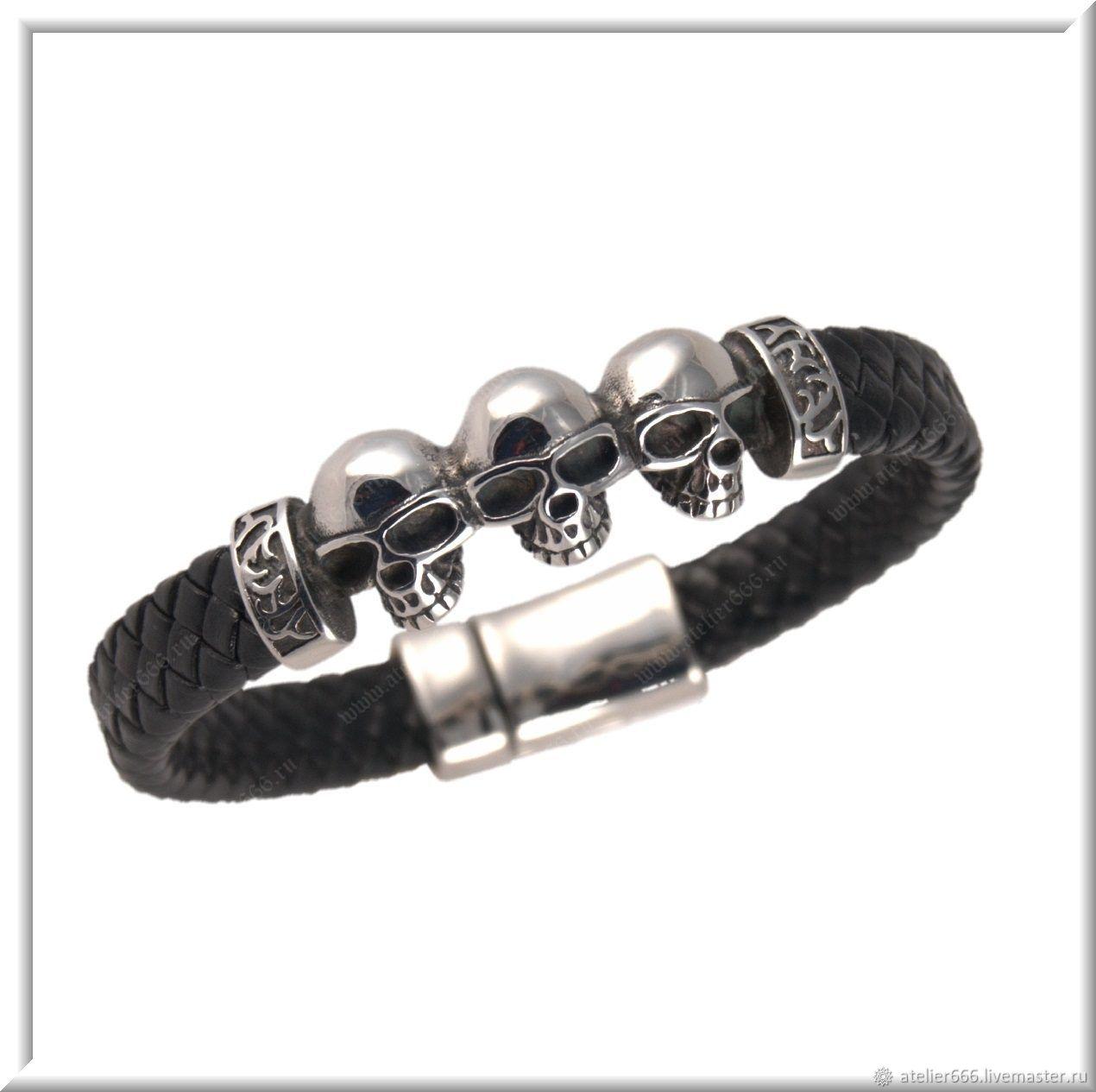 Men's leather bracelet No. 14 accessories steel 316L, Regaliz bracelet, Moscow,  Фото №1