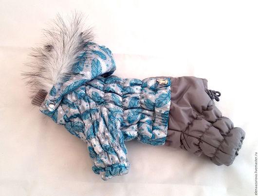 Одежда для собак, ручной работы. Ярмарка Мастеров - ручная работа. Купить Зимний комбинезон Бирюзовые перышки. Handmade. Бирюзовый, альполюкс