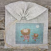 6-5 Мишки 20х30см мешочки для подарков льняные, упаковка подарок