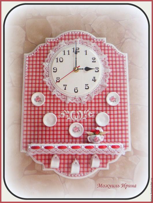 """Часы для дома ручной работы. Ярмарка Мастеров - ручная работа. Купить Часы настенные с полочкой """"Кантри Шик"""". Handmade."""