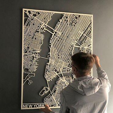 Картины и панно ручной работы. Ярмарка Мастеров - ручная работа Панно карта из дерева new york. Handmade.