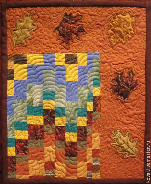 """Абстракция ручной работы. Ярмарка Мастеров - ручная работа. Купить Квилт """"Осенний блюз"""". Handmade. Рыжий, квилт, барджелло, квилтинг"""