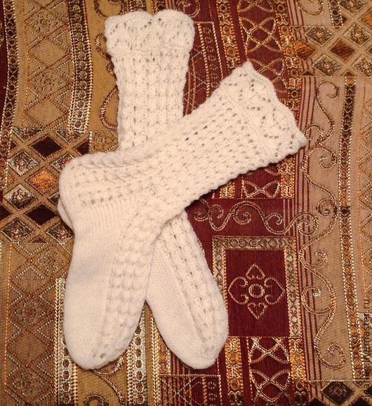Вязание ручной работы. Ярмарка Мастеров - ручная работа. Купить Схема ажурных носков Белоснежка. Handmade. Белый, носки