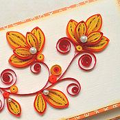 Открытки ручной работы. Ярмарка Мастеров - ручная работа Свадебный конверт. Красно-оранжевые цветы. Конверт для денег.. Handmade.