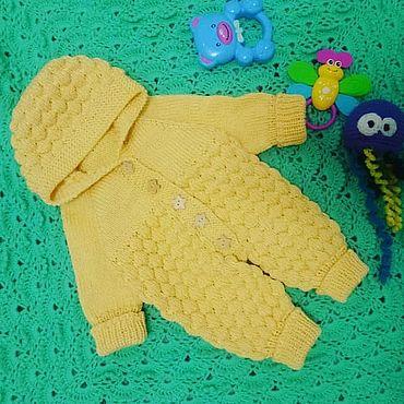 Одежда ручной работы. Ярмарка Мастеров - ручная работа Вязанный комбинезон на 0-3 месяца. Handmade.