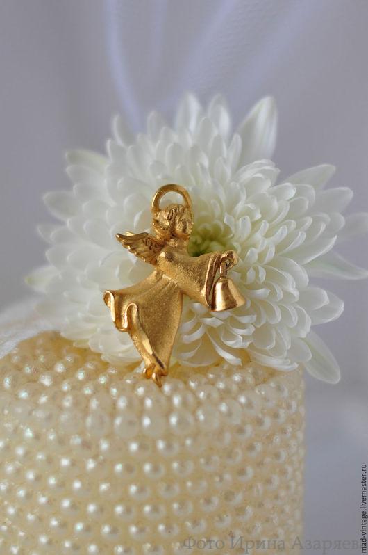 """Винтажные украшения. Ярмарка Мастеров - ручная работа. Купить Винтажная брошь RR """"Золотой ангел"""". Handmade. Ангел, ангел-хранитель"""