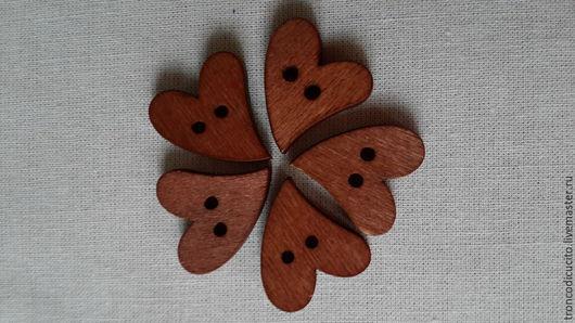 Шитье ручной работы. Ярмарка Мастеров - ручная работа. Купить Пуговицы деревянные сердечки (для Тильд,Тедди,скрапбукинга). Handmade.