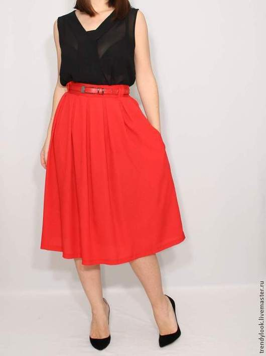 Юбки ручной работы. Ярмарка Мастеров - ручная работа. Купить Красная юбка миди юбка с карманами, юбка ниже колена. Handmade.