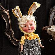 Куклы и игрушки ручной работы. Ярмарка Мастеров - ручная работа Плюшевая куколка с антикварным личиком Зая. Handmade.