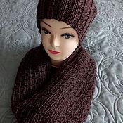 Аксессуары ручной работы. Ярмарка Мастеров - ручная работа Комплект вязаный шарф и шапка бини. Handmade.