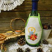 """Подарки к праздникам ручной работы. Ярмарка Мастеров - ручная работа Фартучки на бутылки """"Новогоднее шампанское"""". Handmade."""