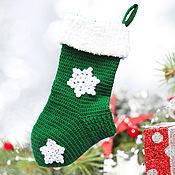 Подарки к праздникам ручной работы. Ярмарка Мастеров - ручная работа новогодний сапожок, рождественский сапожок для подарков, зеленый. Handmade.