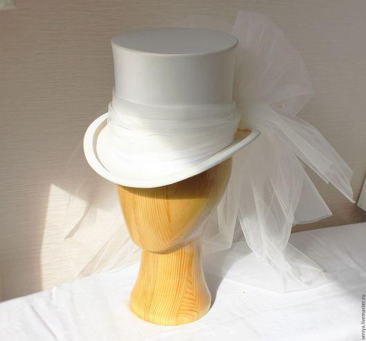 Одежда и аксессуары ручной работы. Ярмарка Мастеров - ручная работа. Купить Свадебный цилиндр невесте. Handmade. Белый, цилиндр, фатин