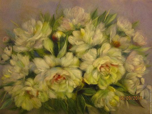 Картины цветов ручной работы. Ярмарка Мастеров - ручная работа. Купить Картина из шерсти Невинность. Handmade. Белые цветы