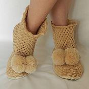 Обувь ручной работы. Ярмарка Мастеров - ручная работа Вязанные сапожки для дома. Handmade.