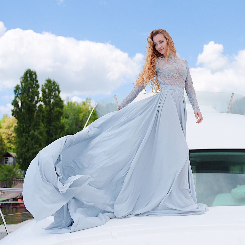 2244b642536 Платья ручной работы. Ярмарка Мастеров - ручная работа. Купить Свадебное  платье голубого цвета.