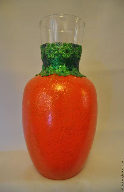 """Вазы ручной работы. Ярмарка Мастеров - ручная работа. Купить Ваза """"Морковка"""". Handmade. Стеклянная ваза, оранжевый, оранжевый цвет"""