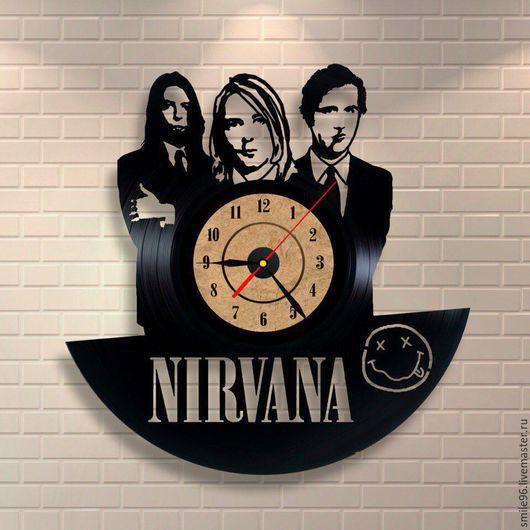 """Часы для дома ручной работы. Ярмарка Мастеров - ручная работа. Купить Часы из пластинки """"Nirvana"""". Handmade. Комбинированный, nirvana, часы"""