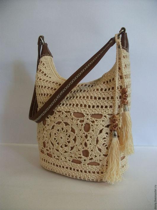 Женские сумки ручной работы. Ярмарка Мастеров - ручная работа. Купить вязаная сумка на плечо. Handmade. Белый, сумка на плечо